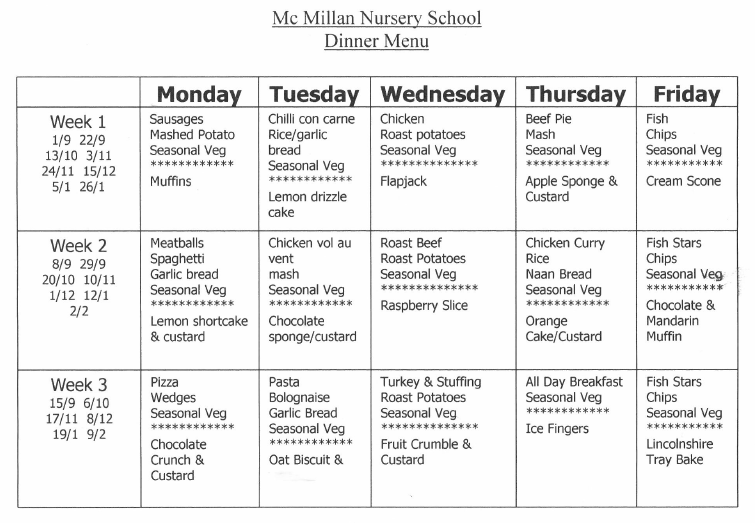 template for class schedule